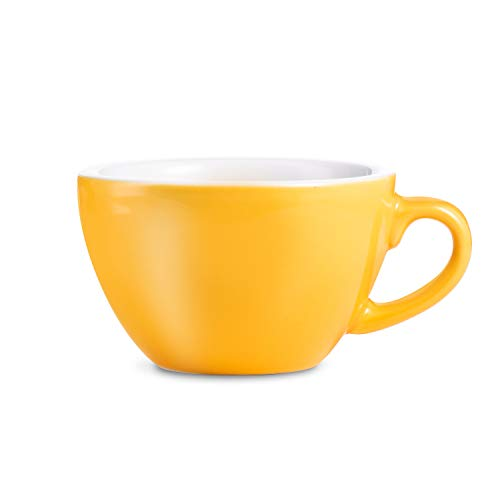 LOVERAMICS Egg Style Cafe Latte Cup and Saucer, 300ml (10 oz) (Yellow, 6)