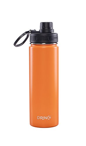 Drinco - Stainless Steel Water Bottle | Double Wall Vacuum Insulated Water Bottle | Perfect for Traveling Camping with Spout Lid | Orange | BPA Free | 20 oz
