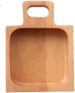 SHUUY 木製トレイフードスナックデザートティー食器調味醤油食品浸漬料理プレートラウンドスクエア (Size : 11x8cm)
