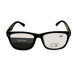 Transition Lens Readers - Photochromic Lenses Shift From Reading Glasses to Reading Sunglasses in Sunlight - Bonus Travel Pouch Included - +250 - By Optix 55