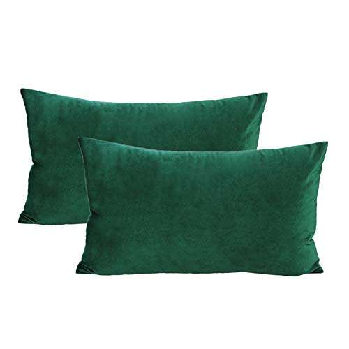 Lumbar Velvet Soft Solid Throw Pillow Cases Decorative Rectangle Cozy Cushion Covers Home Decor for Couch Sofa Car 12x20 Inch Set of 2, Dark Green Emerald Green (Pillow Green Lumbar)