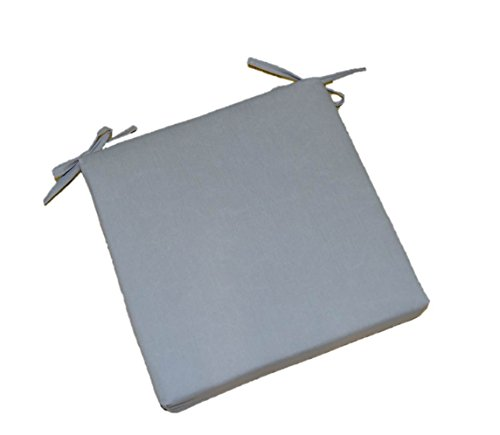 """Indoor / Outdoor Solid Gray / Grey Square Universal 3"""" Thick Foam Seat Cushion with Ties for Dining Patio Chair - Choose Size (20"""