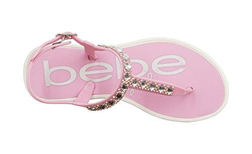 Girls Slingback - bebe Girls Rhinestone Strap Slingback Thong Flats Pink Size 2/3