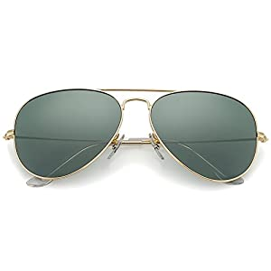 YuFalling Polarized Aviator Sunglasses for Men and Women (gold frame/black green lens, 58)