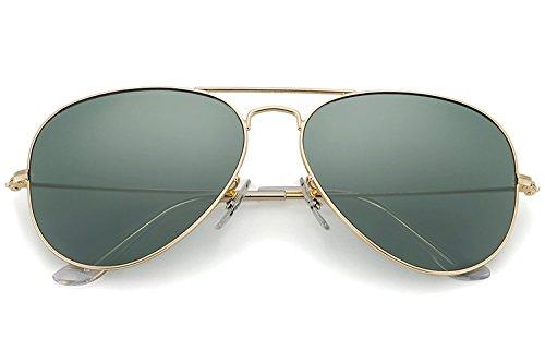 YuFalling Polarized Aviator Sunglasses for Men and Women (gold frame/black green lens, - 58mm Sunglasses Aviator
