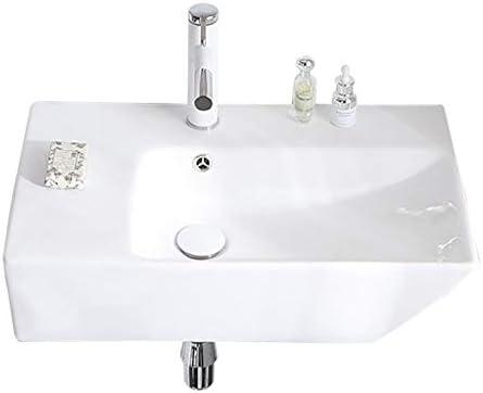 シンク周り用品 盆地ホーム浴室バルコニー統合盆地をぶら下げバスルームのシンクセラミックホワイト長方形洗面台の壁 (Color : A, Size : 66x39x16cm)