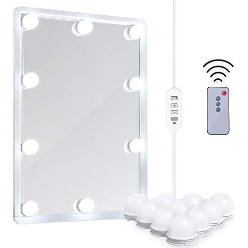 LED Vanity Mirror Lights Kit - MRah Remote Controlled Makeup Mirror Lighting Fixture with 2 Color Modes, 10 Dimmable Bulbs for Vanity Table Set, Bathroom Mirror (Mirror Not Included) ()