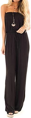 FARORO Women's Jumpsuits-Off Shoulder Romper Wide Leg Solid Color+Floral Printed Elastic Waist Playsuits w
