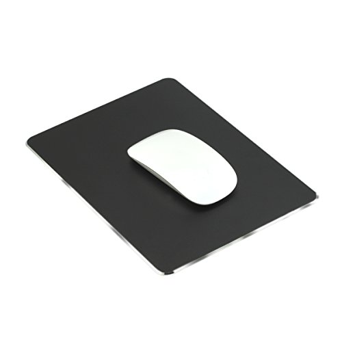 Ptalor, Aluminum Mouse pad Strong Sensitivity for Mouse,Non-Slip Base,Resistant to Dirt,Easy to Clear,Mouse pad with Micro Sand Blasting Aluminum Surface for Fast and Accurate Control (Black)
