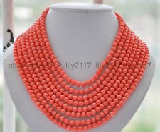 (Pretty 8row 6mm pink coral round bead Necklace Handmade 17-24 Inch)