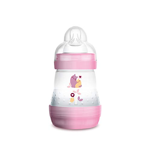 MAM Easy Start Anti-Colic Bottle 5 oz (1-Count), Baby Essentials, Slow Flow Bottles with Silicone Nipple, Baby Bottles for Baby Girl, Pink
