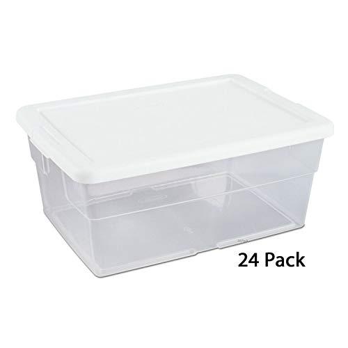 Sterilite 16428012 Storage Box, 16 Quart White Lid with Clear Base ()