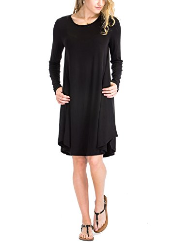 Luna Flower Women's Plus Basic Solid Long Sleeve Relax Fit Drop Shoulder Round Hem Dresses Black 3XL Round Yoke Dress