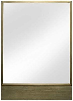 長方形の壁の鏡 - 浴室のための鏡アメリカのレトロなスタイルのステンレス鋼のボーダー触れない指紋技術化粧鏡50×70 Cm