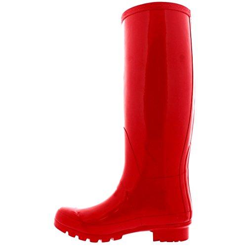 Womens Original Hochglanz Winter Wasserdichte Gummistiefel Regen Gummistiefel rot