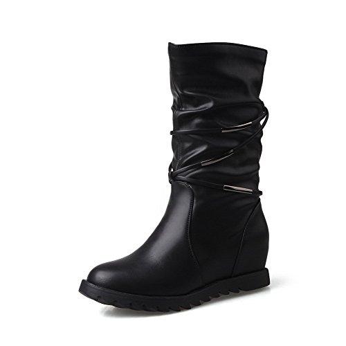VogueZone009 Damen Mittler Absatz Rein Ziehen auf PU Spitz Zehe Stiefel, Dunkelgrün, 42