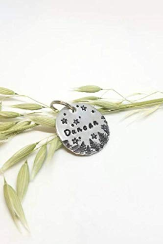handmade personalized dog tag pet cat id custom stars and moon name and number by theghostlywood