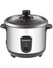 Beper - 2-in-1 rijstkoker en stoompan van roestvrij staal, inhoud 1 l voor 625 g rijst, warmtebehoudingssysteem, maatbeker en lepel voor rijst, zilver en zwart
