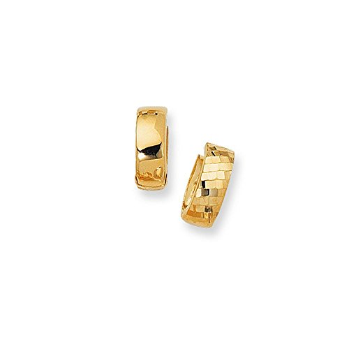 14k Yellow Gold Sparkle-Cut 5.0mm Textured Hinged Earrings Earrings With Diamond Pattern