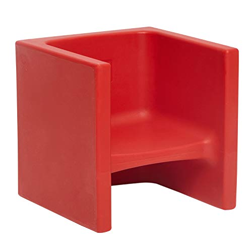 ECR4Kids Tri-Me 3-in-1 Cube Chair, Portable Indoor/Outdoor Play Seat or Table for Kids and Toddlers, Red