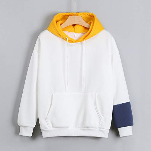 Impresas Hoodie Camisa manga Aimee7 Tops Mujer larga Amarillo Cartas Sudadera de 8ZqUPOU6w