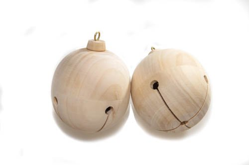 Wooden Jingle Bell Ornaments 3-1/4 Inch Tall (3-9/16 Inch with Eye Hook) x 2-13/16 Inch Wide, Pack of 2 Unfinished DIY Wood Jingle Bells, Perfect for Christmas Decorations by Woodpeckers