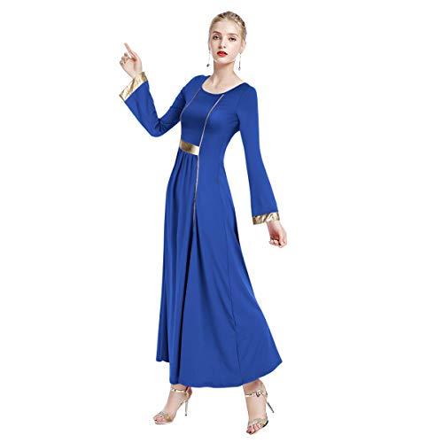 FYMNSI Women Long Sleeve Liturgical Praise Seamed Dance Robe Worship Dress Full Length Wide Swing Loose Fit Dancewear Royal Blue & Gold - Dance Liturgical Dresses