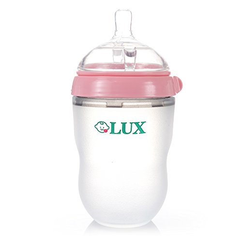 Wide Neck Non Drip Nipples (LUX Nature Baby Bottle   Anti Colic Infant Bottle   Silicone Breast-Like Baby Bottle   Nursing Bottle   BPA Free   No Leaking  by LUX Baby Bottle (Pink 8 oz))