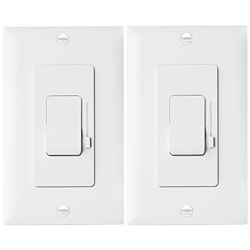 LED Dimmer Switch by Enerlites Rocker Light Switch, Single Pole / 3 Way LED Dimmer Switches for LED, CFL, Incandescent, Halogen, Wall Plates Included, 51300, White, 2-Pack