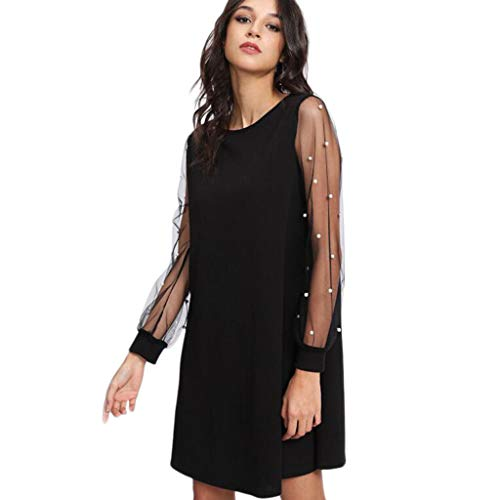 Tantisy ♣↭♣ Women's Plus Loose Bell Sleeve Floral Embroidered Mesh Summer Tunic Dress Black
