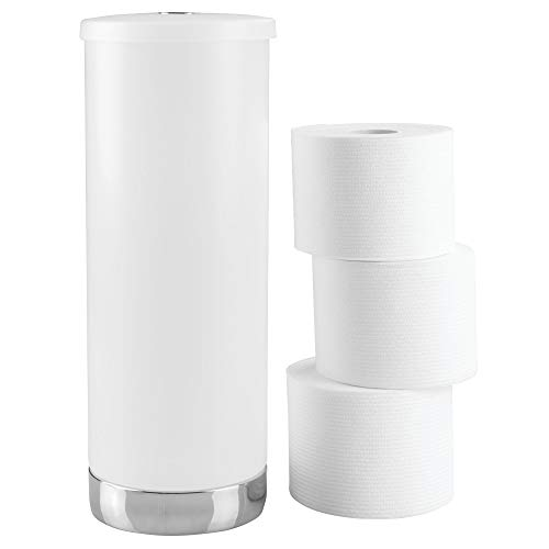 e Standing Toilet Paper Holder – Spare Roll Storage for Bathroom, Frosted/Chrome ()