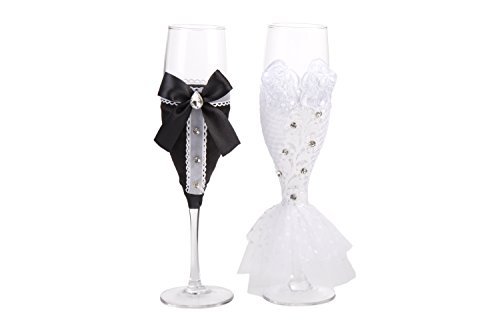 Personalized Wedding Dress Wine Glasses-ULA Handmade Bride and Groom Champagne Flutes for Toasting,Wedding Gifts,Bridal Shower Gifts,Wedding Favors,Couples Gifts,Wedding Decorations(set of 2) (Elegant Wedding Gift)
