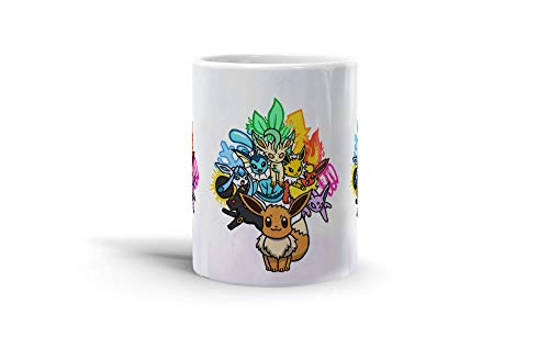 Ceramic Coffee Mug Gamer Video Game Cup The 7 Different Forms Of Eevee Gaming Computer Drinkware Super White Mugs Family Gift Cups 11oz 325ml