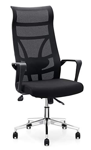 (Allguest Executive Office High Back Elastic Mesh Chair - Black Premium Quality High-Back Office Chair - High-Density Foam Cover)