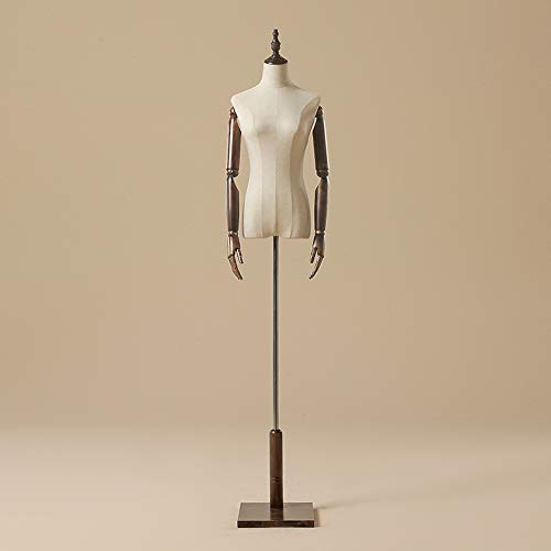 Wooden Mannequin Torso Body Frame Female Models Dress for Costume Jewelry Show,B