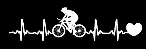 - LLI Bicycle Heartbeat   Decal Vinyl Sticker   Cars Trucks Vans Walls Laptop   White   7.5 x 2 in   LLI1241