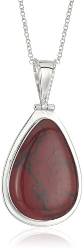 Silver Tone Simulated Red Jasper Inlay Large Teardrop Pendant Necklace, 18