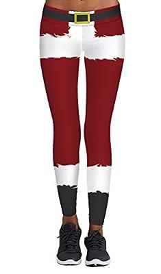 DawnRaid Women's Funny Stripe Printed Pattern Christmas Leggings Ankle Length
