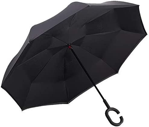 Double Layer Inverted Inverted Umbrella Is Light And Sturdy Abstract Gray Blue Background Reverse Umbrella And Windproof Umbrella Edge Night Reflecti