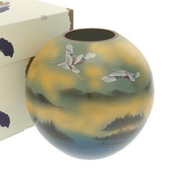 Kotobuki Japanese Vase:7''H Kutani Teal/Gold Cranes #510-584 by 123kotobukijapanstore