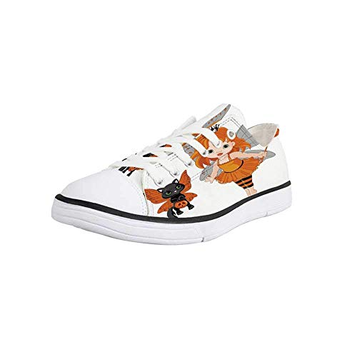 Canvas Sneaker Low Top Shoes,Halloween,Halloween Baby Fairy and Her Cat in Costumes Butterflies Girls Kids Room Decor Decorative Man 10]()