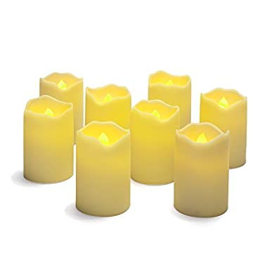 Set of 8 Resin Flameless Battery Operated 3  LED Votive Candles with Warm Amber and Color Changing Modes. Batteries Included.