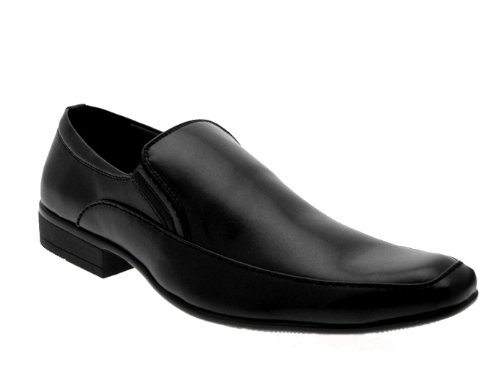 MENS FAUX LEATHER ITALIAN DESIGNED SLIP ONS MULES WORK WEDDING SHOES SIZE UK 6- 11 Black T80htXqM