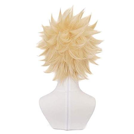 Yamia Anime Cosplay Wig for My Hero Academia Katsuki Bakugou Synthetic Wig with Free Wig Cap Blonde