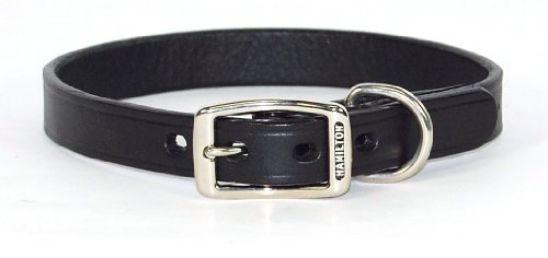 "Hamilton 3/4"" x 20"" Creased Black Leather Dog Collar"