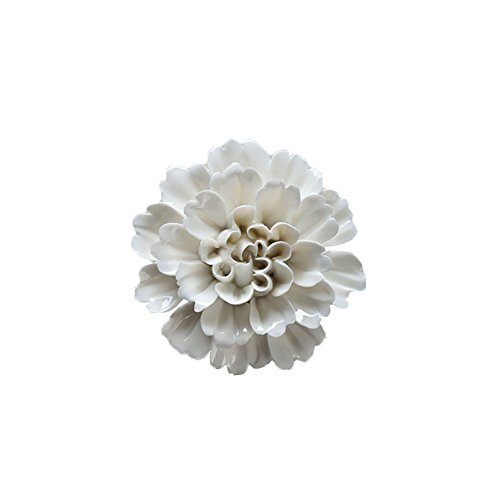 ALYCASO Handmade Ceramic Peony Flower Porcelain Ornaments White 3D TV Wall Decorations Home Wall Pediments, White (F20) -