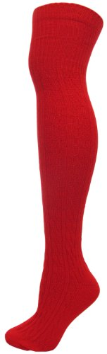 Ladies 1-Pack Plain Cable Knitted Acrylic Wool Over the Knee Socks (Sock Size 9-11)(RED)