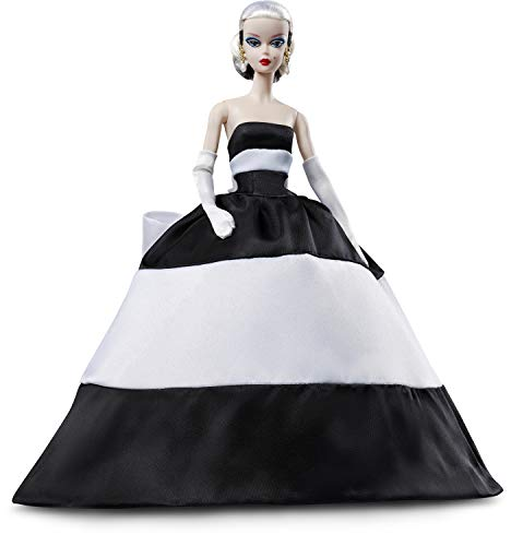 Barbie Collector: BFMC Doll, 11.5-Inch, Wearing Black and White Ball Gown, with Platinum Hair and Vintage Face Sculpt, Includes Doll Stand and Certificate of Authenticity