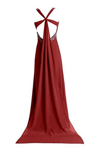 Abendkleid Rot Damen Ivydressing Promkleid Trager Ballkleid Rueckenfrei Chiffon Schleppe 8z0Bq