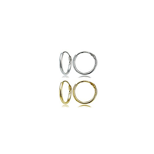 Set of 2 Pairs Sterling Silver & Yellow Gold Flashed Tiny Endless 10mm Round Unisex Hoop Cartilage Earrings